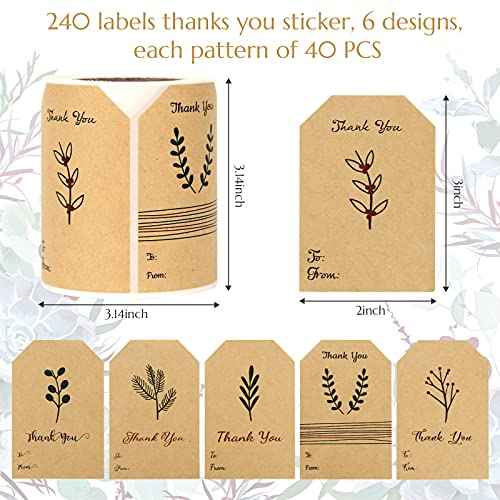 SallyFashion Kraft Sticker Paper Label, 240 PCS Vintage Gift Tags, Thank You Stickers Roll for Holiday Glass Bottle Present Supplies