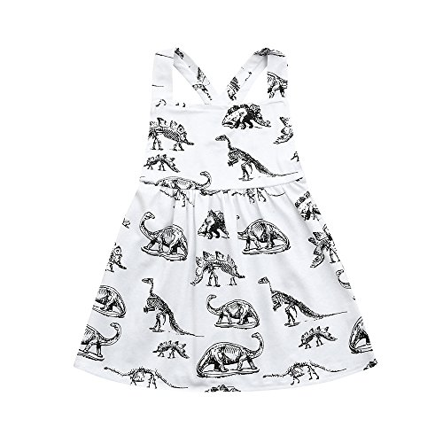 Hatoys Toddler Infant Baby Girls Halter Dinosaur Print Dresses Clothing Outfits (12-18M, White)