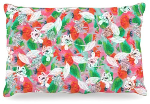 L 30 Inches x 40 Inches Kess InHouse Akwaflorell Flying Tulips Red Green Fleece Dog Bed, 30 by 40-Inch