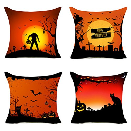MFGNEH Happy Halloween Black Cat Pumpkin Bat Zombie Home Decorative Cotton Linen Throw Pillow Covers 18x18 Inch Set of 4, Halloween Decor -