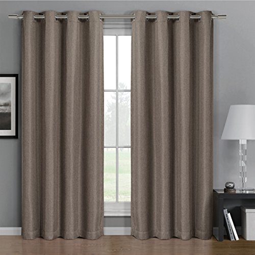 """Pair of Two Top Grommet Gulfport Faux Linen Blackout Weave Thermal Insulated Curtain Panels, Triple-Pass Yarn Back Layer, Elegant and Contemporary Gulfport Blackout Panels, Set of Two Brown 52"""" by 96"""" Panels (104"""" by 96"""" Pair)"""