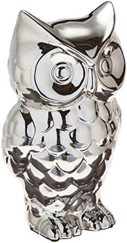 Howard Elliott 18200 Ceramic Owl Statue, Nickel Plated
