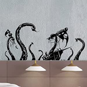 uber decals vinyl wall decal sticker pirate ship attack by octopus 868 18x33 inches. Black Bedroom Furniture Sets. Home Design Ideas
