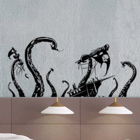 uBer Decals Vinyl Wall Decal Sticker Pirate Ship Attack by Octopus 868 13x24 inches