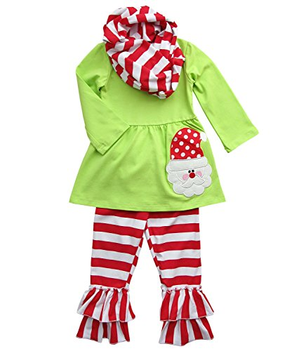 [So Sydney Toddler Girls 3 Pc Christmas Santa or Reindeer Outfit & Infinity Scarf (M (4T), Santa Claus Green &] (Christmas Outfit)