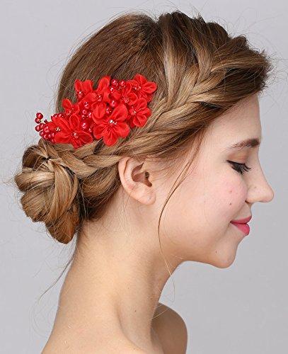 al Flower Austria Rhinestone Pearl Flower Gold Combs Hair Accessories (Red) ()