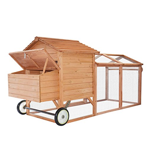 "PawHut 96"" Wheeled Tractor Hen House Chicken Coop w/Run"