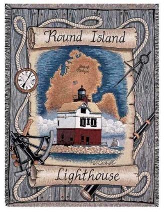 Tapestry Throw Round Island, MI Lighthouse (Round Island Lighthouse)