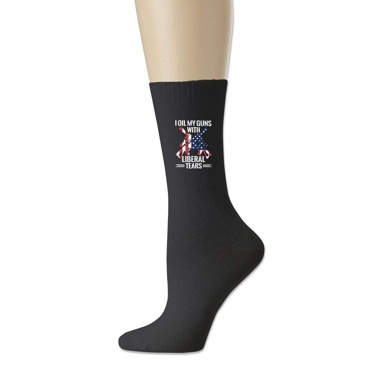 Cotton Crew Bobbysox Ski Socks Unisex Soccer Socks I Oil My Guns With Liberal Tears