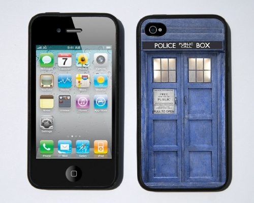 Doctor Who Inspired Blue Tardis Case for iPhone 4 / 4s By Little Brick Press (Hard Silicone Rubber Case)