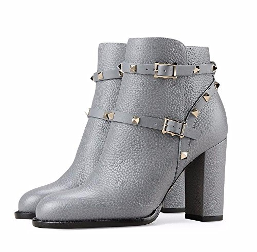 Block Boots Buckle Gray Party Solid Boots Street Rivets Emiki Zipper Round for Strap Heel Ankle Shoes Ankle Women Customized Toe ZcwvIqIY
