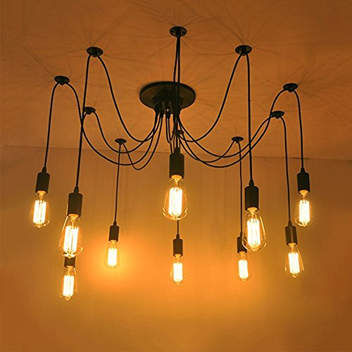 Vintage Industrial Hanging Chandelier Lighting Edison Light Bulb Lamp 110V/60W/E26 Spider Ceiling Pendant Bulbs 6 8 10 12 14 Heads for Dining Room Coffee Shop Theme Restaurant Hall (10 Arms) by Boshen