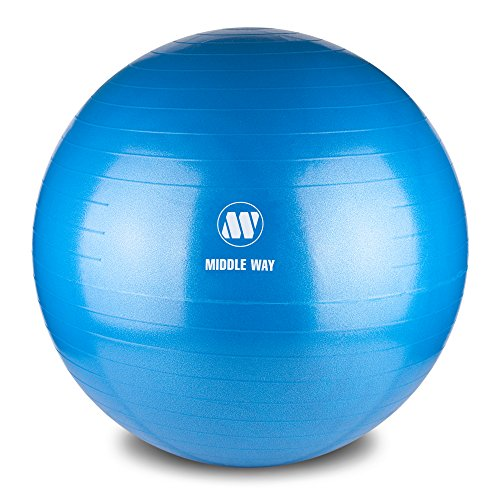 Middle Way Exercise Ball 65cm blue - Ideal as Yoga Ball, Pilates Ball, Gym Ball, Home Workout Ball