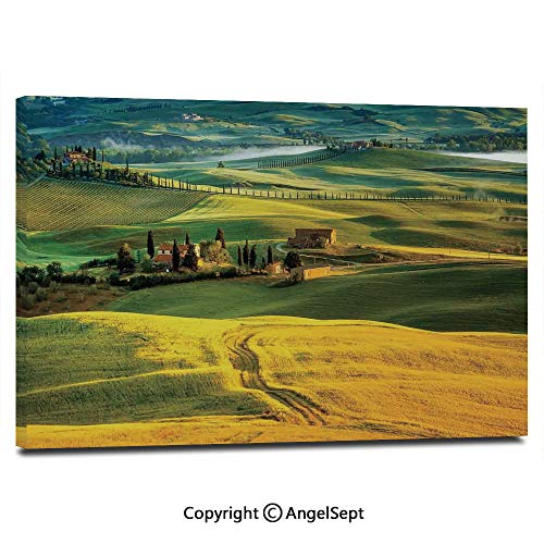 Modern Salon Theme Mural Idyllic Landscape of Tuscany Road and Cypresses to Medieval Farmhouse Image Painting Canvas Wall Art for Home Decor 24x36inches, Mustard and Green