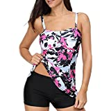 Century Star Women's Tummy Control Swimwear Paisley Printed Tankini Swimsuit Boyshorts Two Piece Bathing Suit