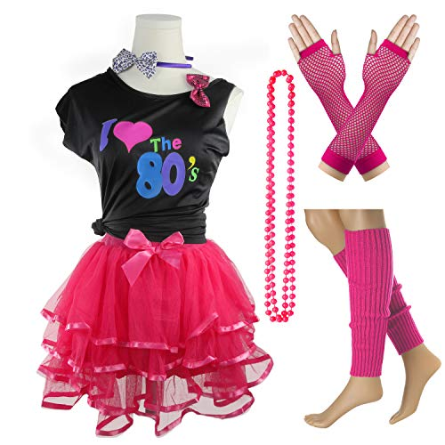 I Love The 80's T-Shirt 1980s Girl Costume Outfit Accessories (Hot Pink, 10-12 Years)