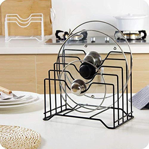 Pot Lid Holder,Lid Organizer,Pot Lid Rack Storage,Pan Lid Cover Cabinet Pantry Holder Rack Organizer, Multifunctional Kitchen Cookware Chopping Board Organizer Storage Rack (Black) (Lid Pan Rack)