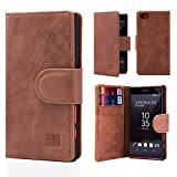 32nd® Premium Leather Wallet Case for Sony Xperia Z5 Compact, case made from genuine luxury Italian leather - Chestnut