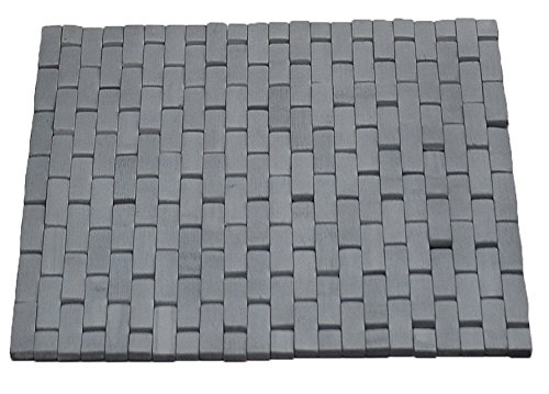 EVIDECO Bathroom Bamboo Slats Roll-up Foldable Shower Door Rug, 18'' L X 18'' W x 0.4'' H(45 x 45 Cm), Gray by EVIDECO (Image #6)