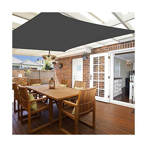 51CVZI38WZL TOPLUS Sonnensegel Sonnenschutz Garten Balkon Wetterschutz wasserabweisend Rechteckig 420D PES UV-Schutz für Garten…