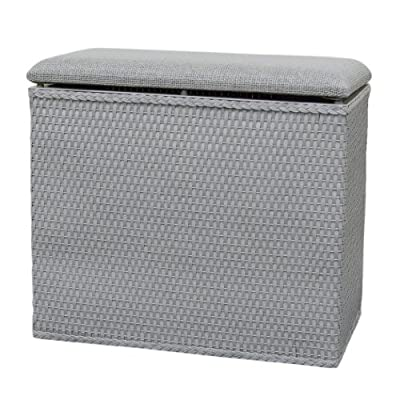 LaMont Home Barrington Collection - Bench Hamper - Available in white, chocolate, grey Folded flat paper wicker / Plastic Spot Clean with damp cloth - laundry-room, hampers-baskets, entryway-laundry-room - 51CVZPCTPTL. SS400  -