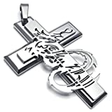 AmDxD Jewelry Vintage Necklace,Stainless Steel Pendant Necklaces for Men Gothic Dragon Cross 26 Inch