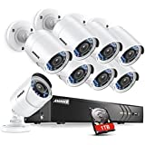 ANNKE CCTV Camera Systems 8+2 Channel 1080P H.264+ DVR and 8×1080P Full HD-TVI Weatherproof Bullet Cameras, 1TB Surveillance Hard Drive, Email Alert with Snapshots