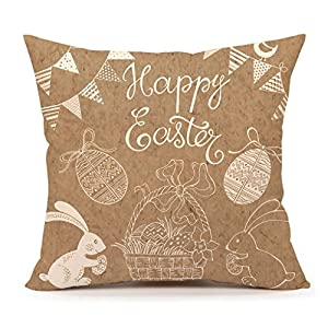 Amazon.com: Rabbit Happy Easter Home Decor Throw Pillow Case Cushion Cover 18 x 18 Inch Cotton ...