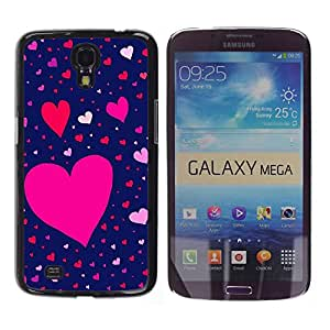 iKiki Tech / Estuche rígido - Pink Blue Red Valentines Pattern - Samsung Galaxy Mega 6.3 I9200 SGH-i527