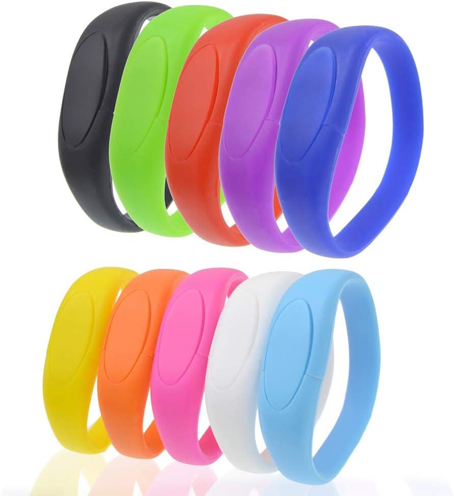 Stylish Jump Drive Colorful Pendrive Festival Gift USB Flash Drive 32GB Bracelet Bulk Thumb Drives Pack of 10 Kepmen Silicon Memory Stick Wristband Zip Drive