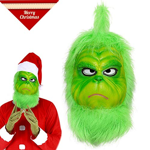 Grinch Mask Deluxe Latex Green Full Head Grinch Stole Christmas CL Mask for $<!--$24.99-->
