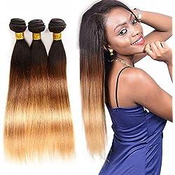 Ombre Brazilian Straight Virgin Hair Weaves 3 Bundles Unprocessed Brazilian Straight Weft Human Hair T1b/4/27(14 16 18, T1b/4/27)