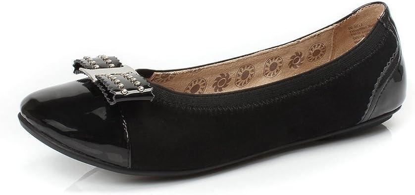 Ladies Bowknot Round Toe Slip On Flat Shoes Nevera Womens Wide Width Ballet Flat
