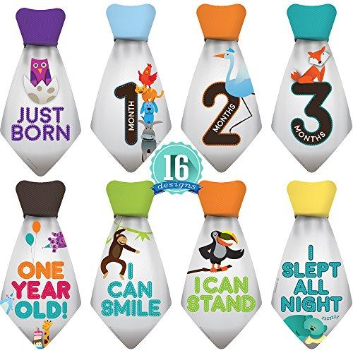 """(Original Stick'Nsnap (TM) 16 Baby Monthly Necktie Onesie Stickers - """"Happy Animals"""" (TM), Gray. Milestones for 12 Months +4 Bonus Milestones - Best Baby Shower Gifts!)"""