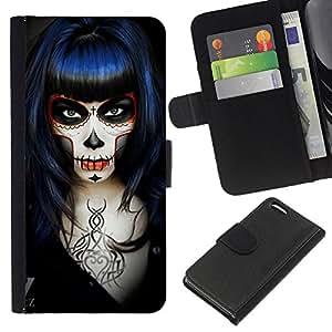 Ihec-Tech / Negro Flip PU Cuero Cover Case para Apple Iphone 5C - Goth Girl Muerte Rock Metal Negro