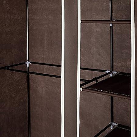 Homegear 41 Double Fabric Portable Wardrobe Closet//Clothes Storage Rack w//Shelves Cream