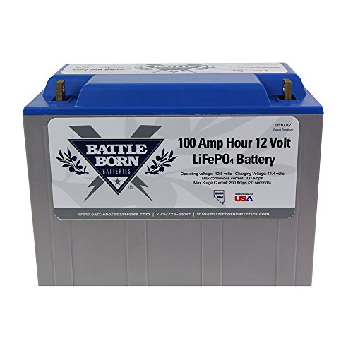 Battle Born LiFePO4 Deep Cycle Battery - 100Ah 12v with Built-in BMS - 3000-5000 Deep Cycle Rechargeable Battery - Perfect for RV/Camper, Marine, Overland/Van, and Off Grid Applications (Lithium Ion Battery Solar)