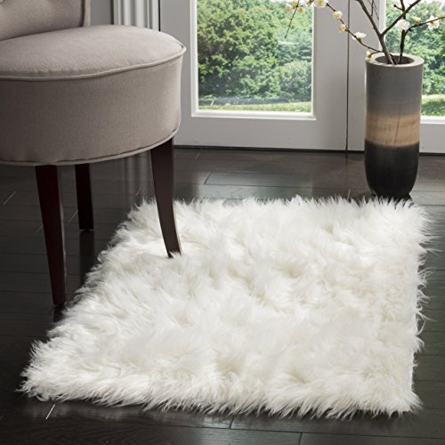 - Safavieh Faux Silky Sheepskin FSS235A Ivory Area Shag Rug (3' x 5')