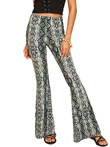 MAKEMECHIC Women's Solid Flare Pants Stretchy Bell Bottom Trousers Snakeskin S (Snake Bell)