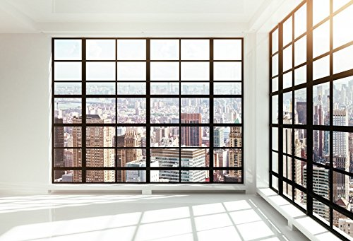 Price comparison product image Yeele 10x8ft Skyscraper Window Backdrop Office Building French Window Transparent Glass Window City Landscape Photography Background Man Adult Portrait Photo Shooting Vinyl Wallpaper Studio Props
