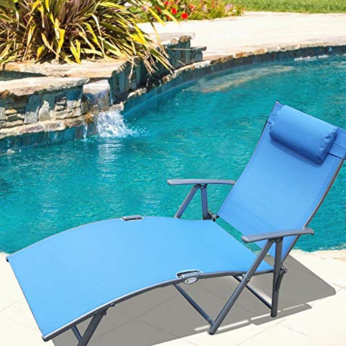 Le Papillon Adjustable Chaise Lounge Chair Recliner Outdoor Patio Pool Folding Lounge Chair – Blue