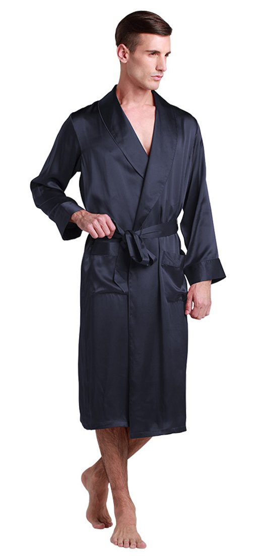 LILYSILK Men's Silk Robe Long Tea Length Lapel Collar 22 Momme Pure Silk Navy Blue Size 42/XL