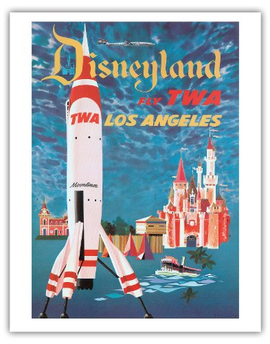 Pacifica Island Art Fly TWA Los Angeles – Trans World Airlines – Disneyland s Tomorrowland TWA Moonliner – Vintage Airline Travel Poster by David Klein c.1955 – Fine Art Print – 11in x 14in