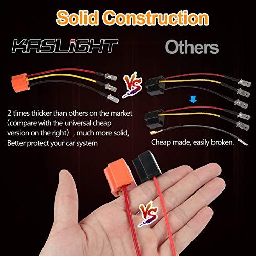 KASLIGHT Ceramic H4 Scoket, Pair H4 Harness, 4x6 Led Headlights H4 9003 HB2  Wiring Harness, H4 9003 HB2 Harness H4 Wiring Harness H4 to 3 Pin Adapter