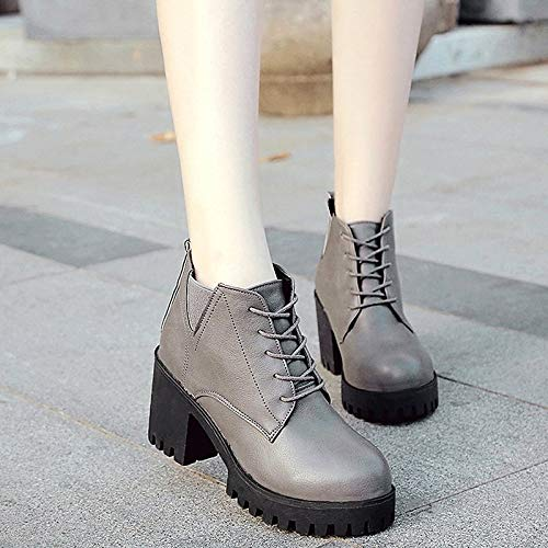 IWxez Damen Combat Stiefel PU (Polyurethan) Herbst & Winter Winter Winter Casual Stiefel Blockabsatz runde Kappe Stiefelies Stiefeletten Schwarz Grau 3ce429