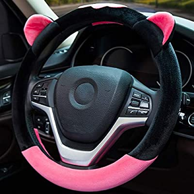 ChuLian Cute Winter Warm Plush Auto Car Steering Wheel Cover for Women Girls, Universal 15 Inch Car Accessories, Rose Red: Automotive