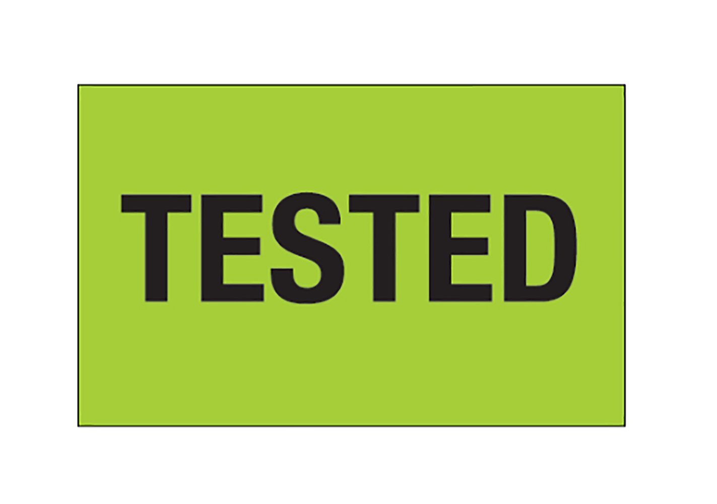 RetailSource DL1159x1 1 1/4 x 2 -Tested, (Fluorescent Green) Labels, 1.5' Height, 3.5' Length, 3.5' Width (Pack of 500) 1.5 Height 3.5 Length 3.5 Width (Pack of 500) RetailSource Ltd