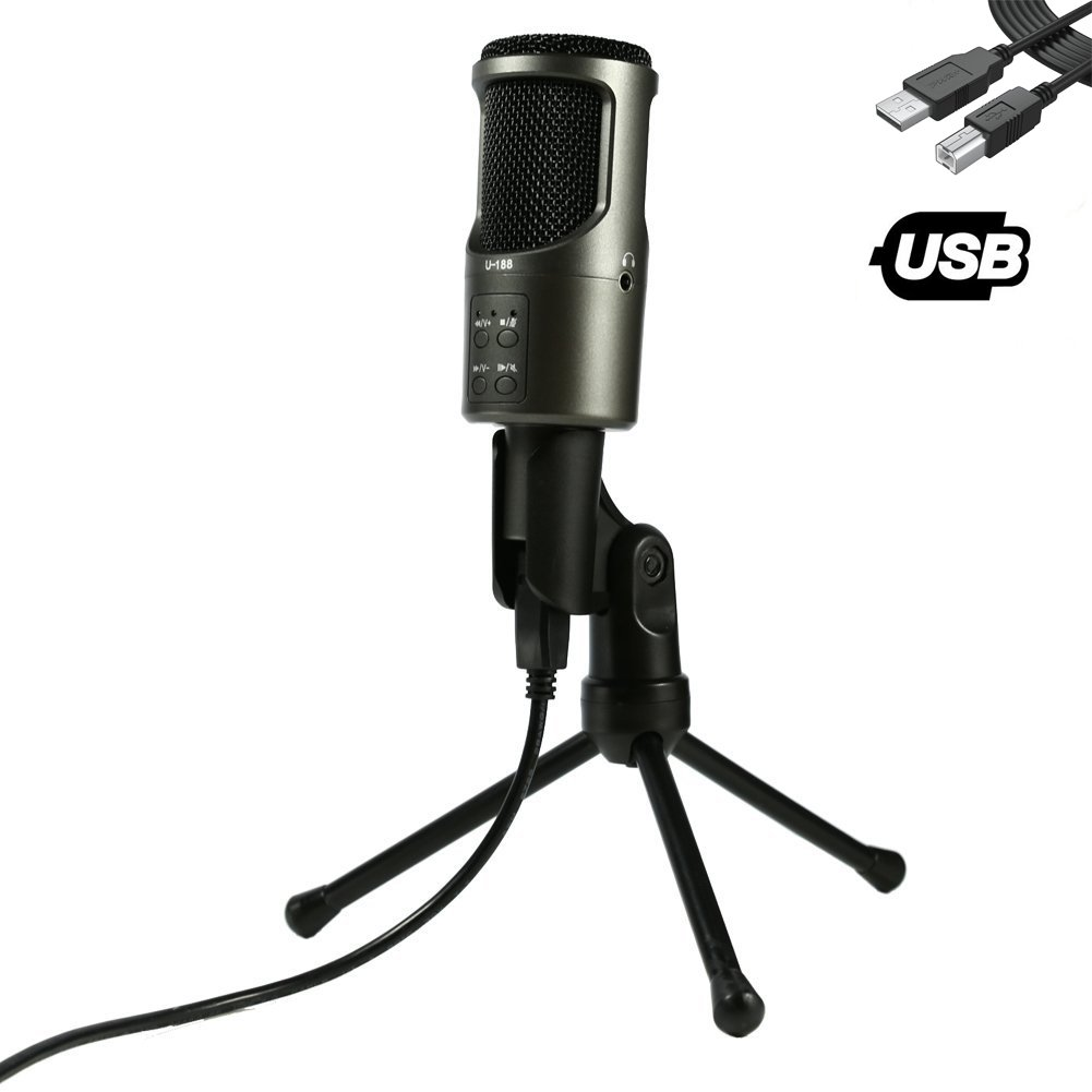 USB Microphone, TKGOU Computer Microphone With Monitor Function & Tripod Stand, Great for Recording and singing, Skype, YouTube, Google Voice Search, Games(Windows/Mac)-Nut-Pro by G-Touker