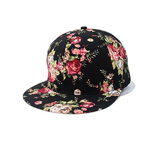 Glamorstar Women s Floral Flower Snapback Hip-Hop Cap Baseball Hat Headwear  Black 9402287c549