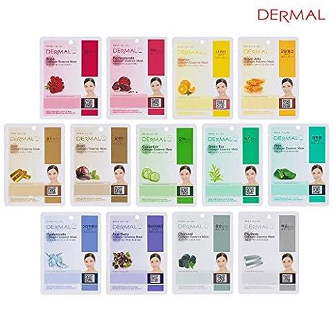Dermal Korea Collagen Essence Full Face Facial Mask Sheet 13 Combo Pack - Face Sheet